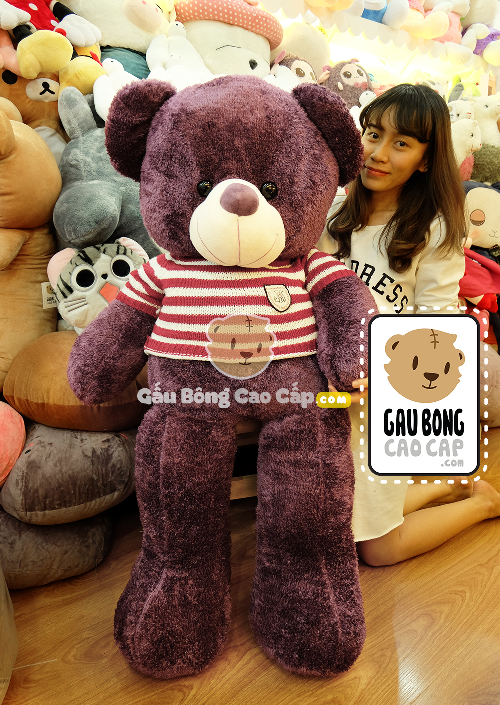 Gấu Bông Teddy tím áo len - Size: 1m4