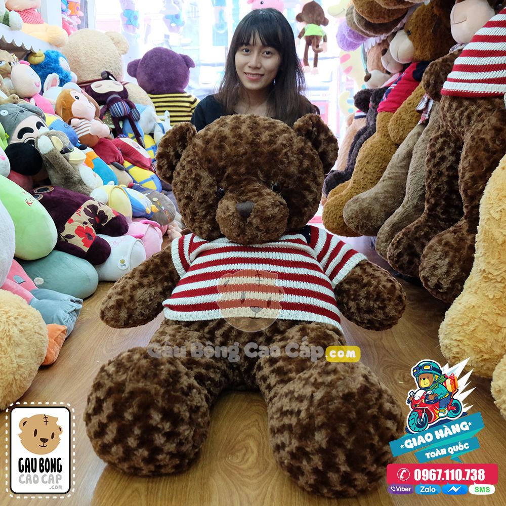 Teddy áo len cờ mỹ 1m2 - Màu Choco