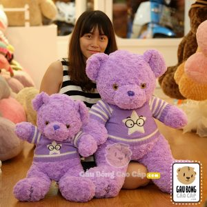 Gấu Bông Tím áo len Lavender