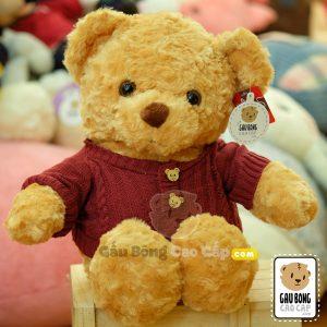 Teddy áo len đỏ Khuy mặt gấu