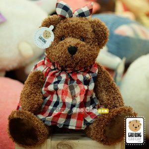 Gấu Teddy Đầm Caro Tai Thỏ