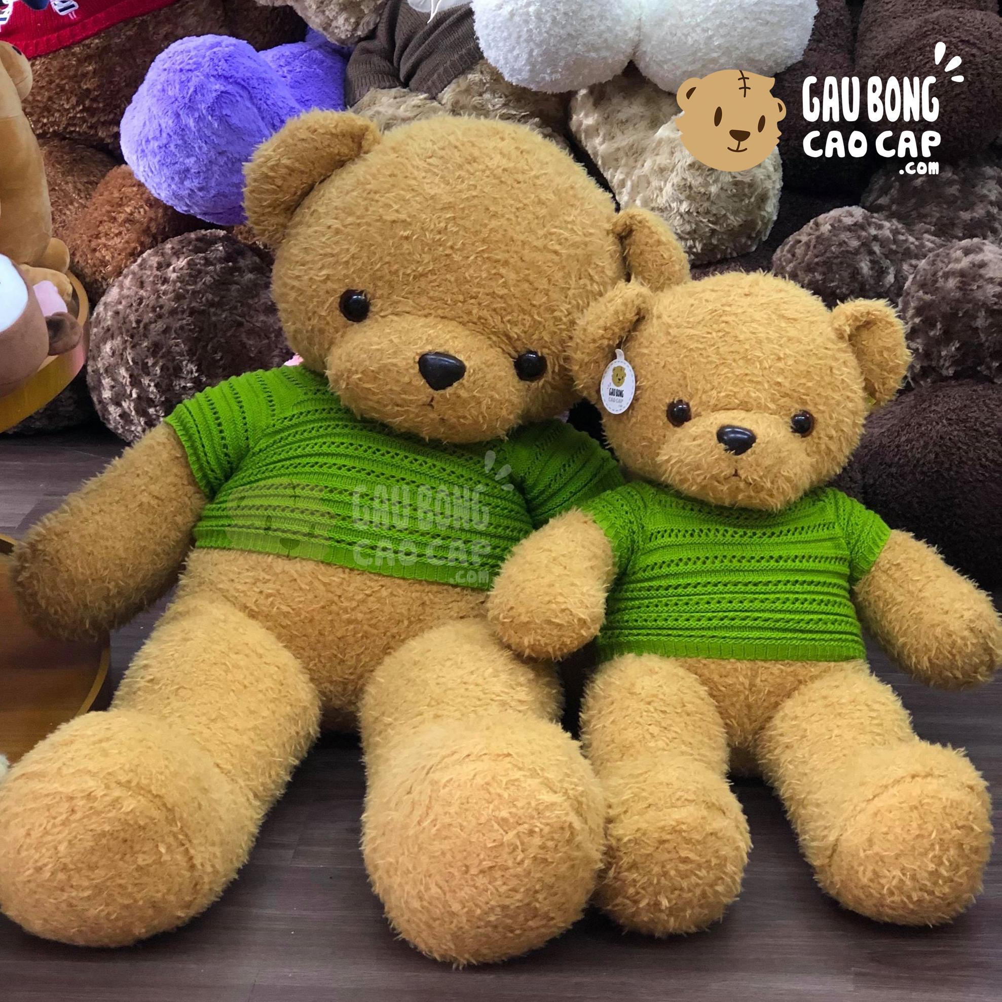 Gấu Teddy lông xù áo len đục lỗ