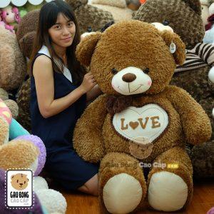Gấu Teddy lông xù nơ tim LOVE