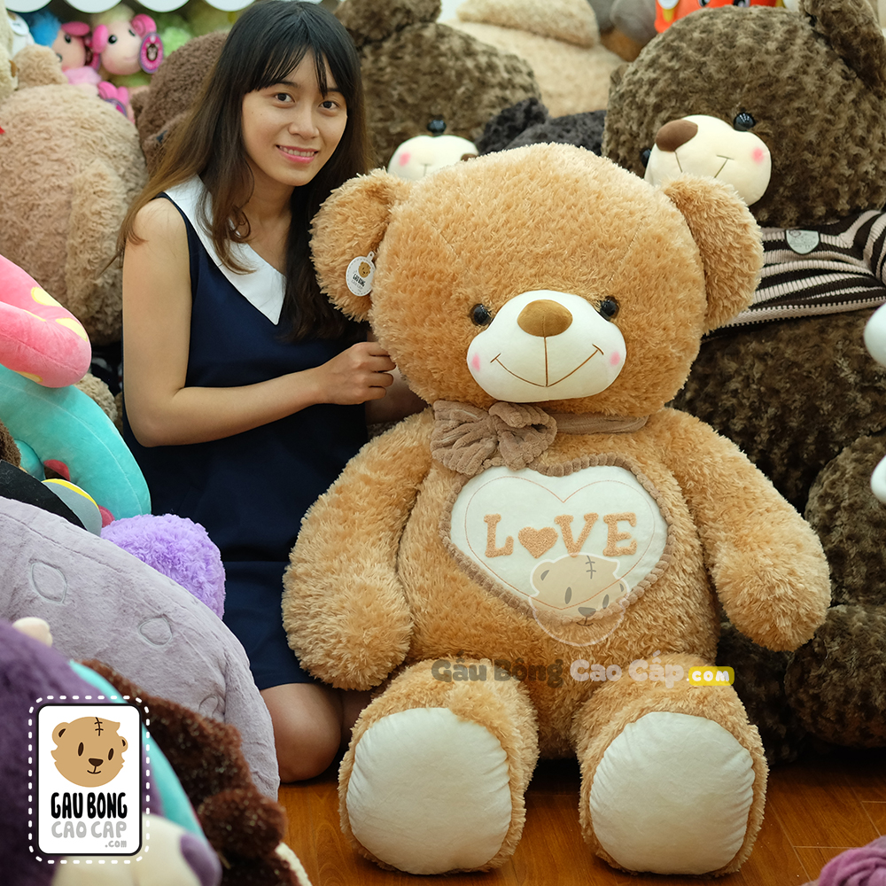 Teddy lông xù nơ tim LOVE