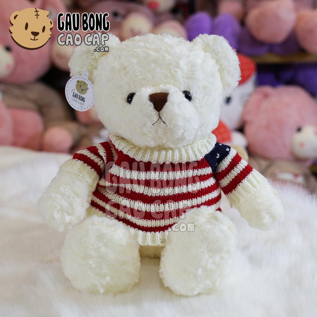 Gấu Teddy áo len cờ mỹ màu trắng
