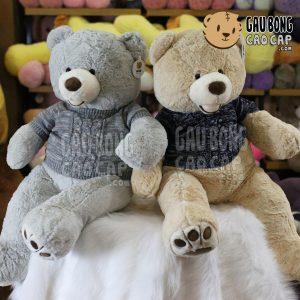 Gấu Teddy Costo mặc áo len - Xám