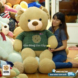 Gấu Teddy lông nỉ áo len LOVE