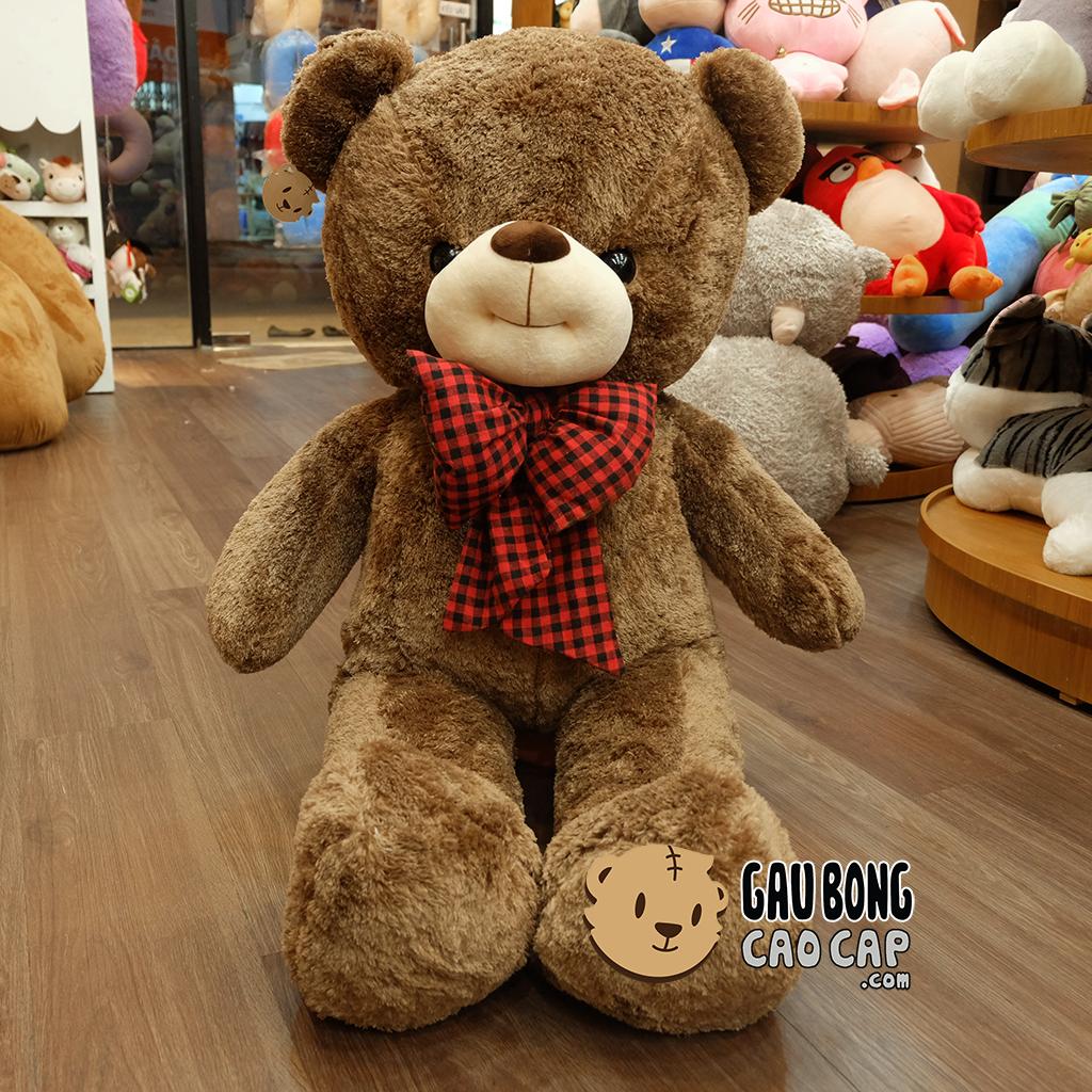 Gấu Teddy Smiley Lông Nâu Nơ Caro