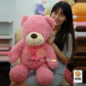 Gấu Bông Teddy Mắt Nhắm Nơ Hoa