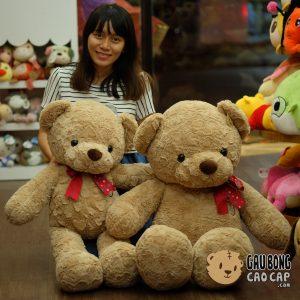 Gấu Teddy lông xoắn tim nơ sao