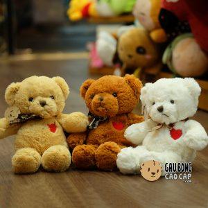 Gấu Teddy Size Nhỏ - Ngực tim nơ Caro