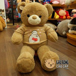 Gấu Teddy áo len Baymax - Nâu - Size: 80cm