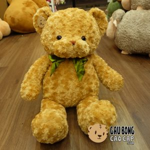 Gấu Teddy lông xoắn - Nơ Xanh lá