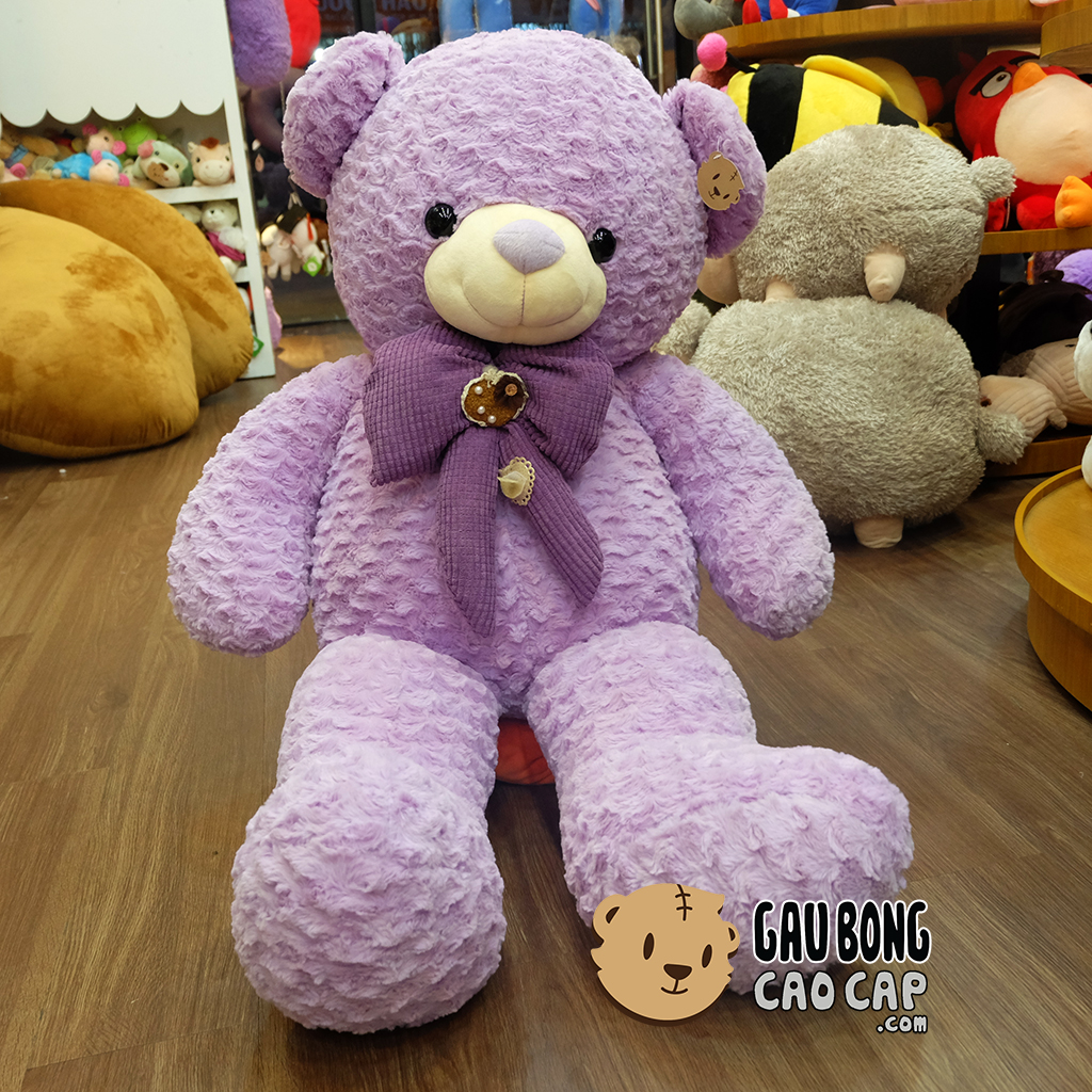 Gấu Teddy tím đeo nơ
