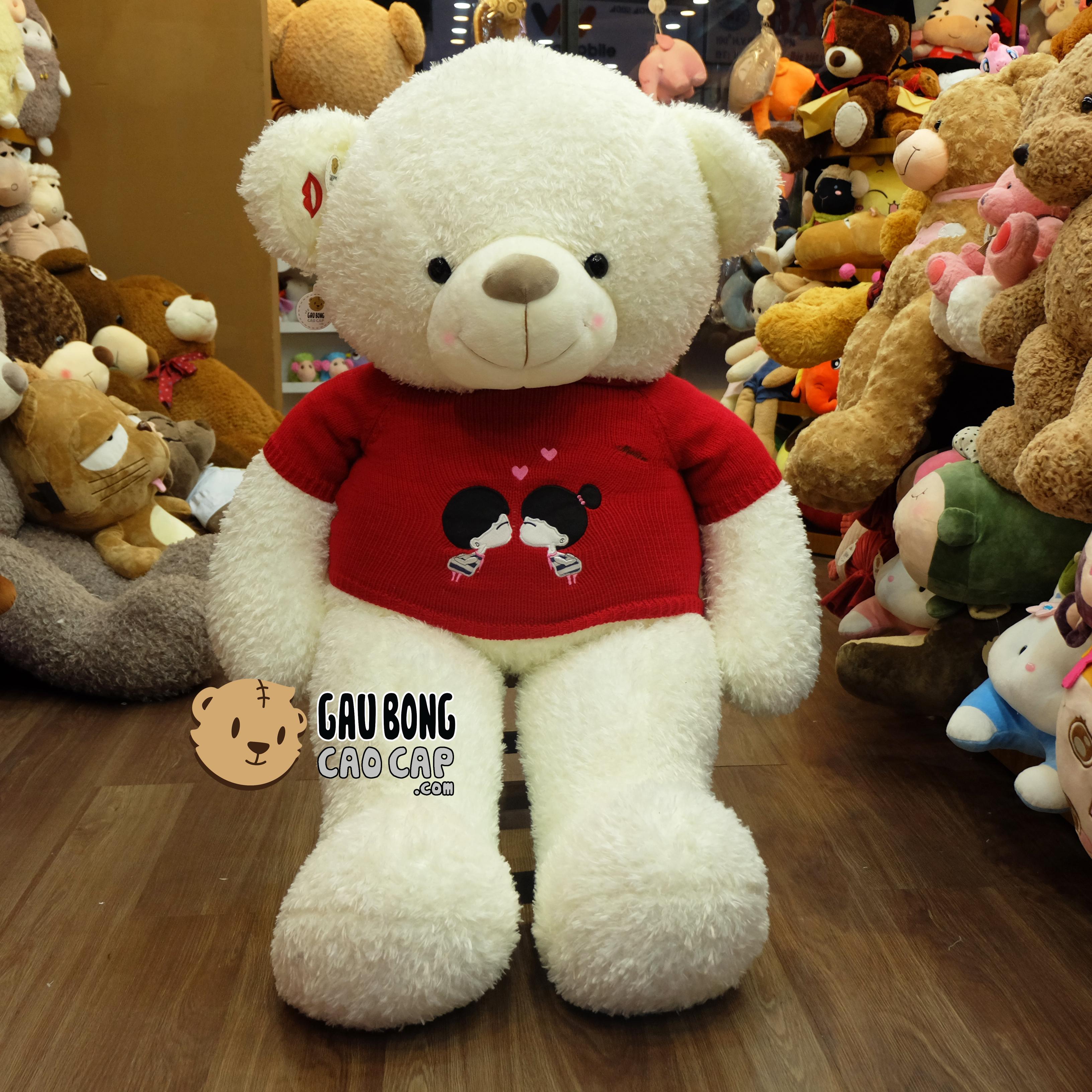 Gấu Teddy áo len Kissing Couple - Màu Trắng (1m5)