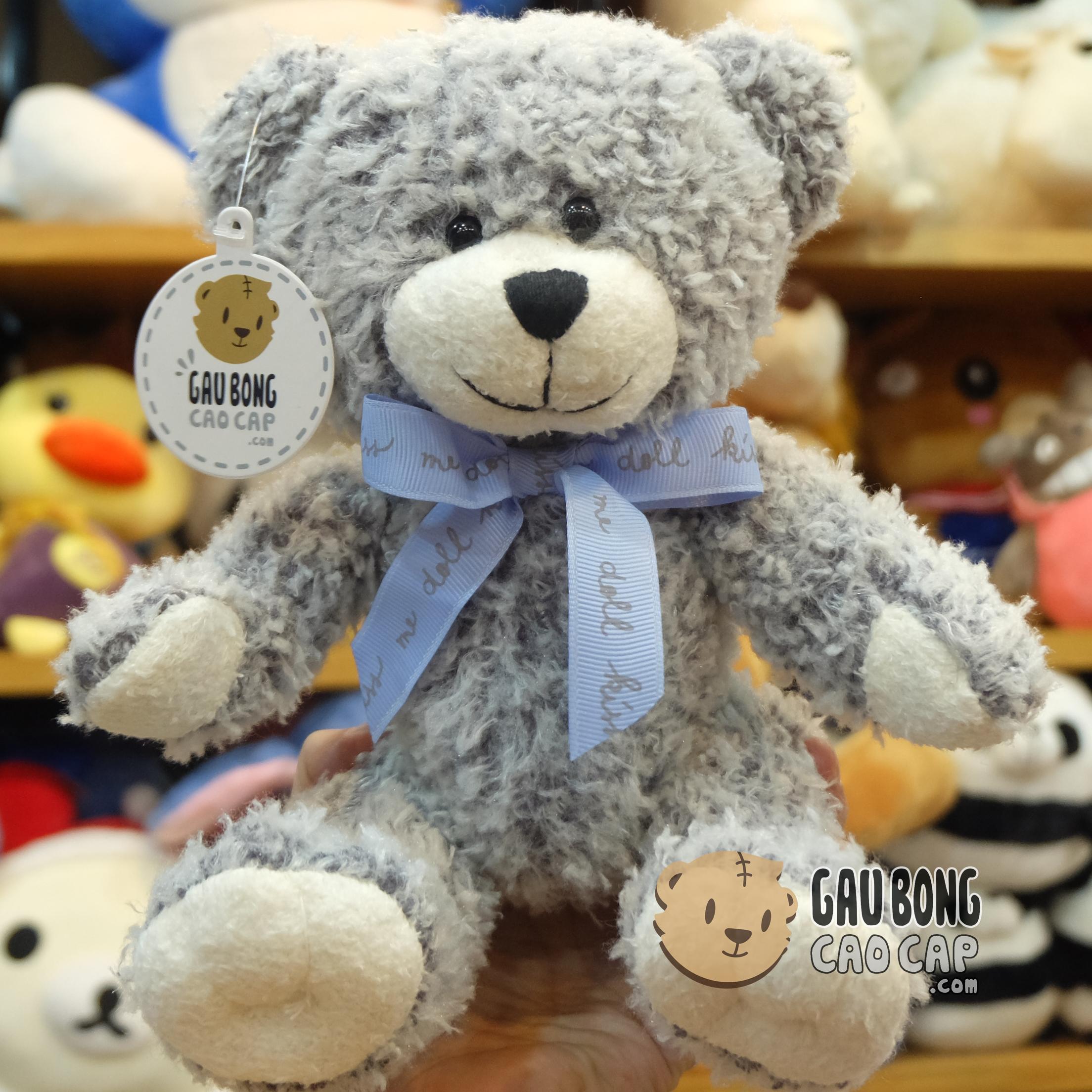 Gấu Teddy nhí lông nỉ nơ Kiss Me