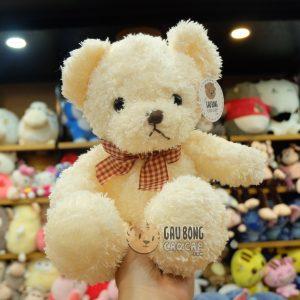 Gấu Teddy nhí lông xù nơ caro