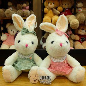 Thỏ bông mặc đầm Caro