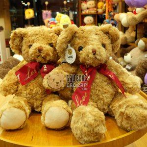 Gấu Teddy lông xù nơ đỏ Love