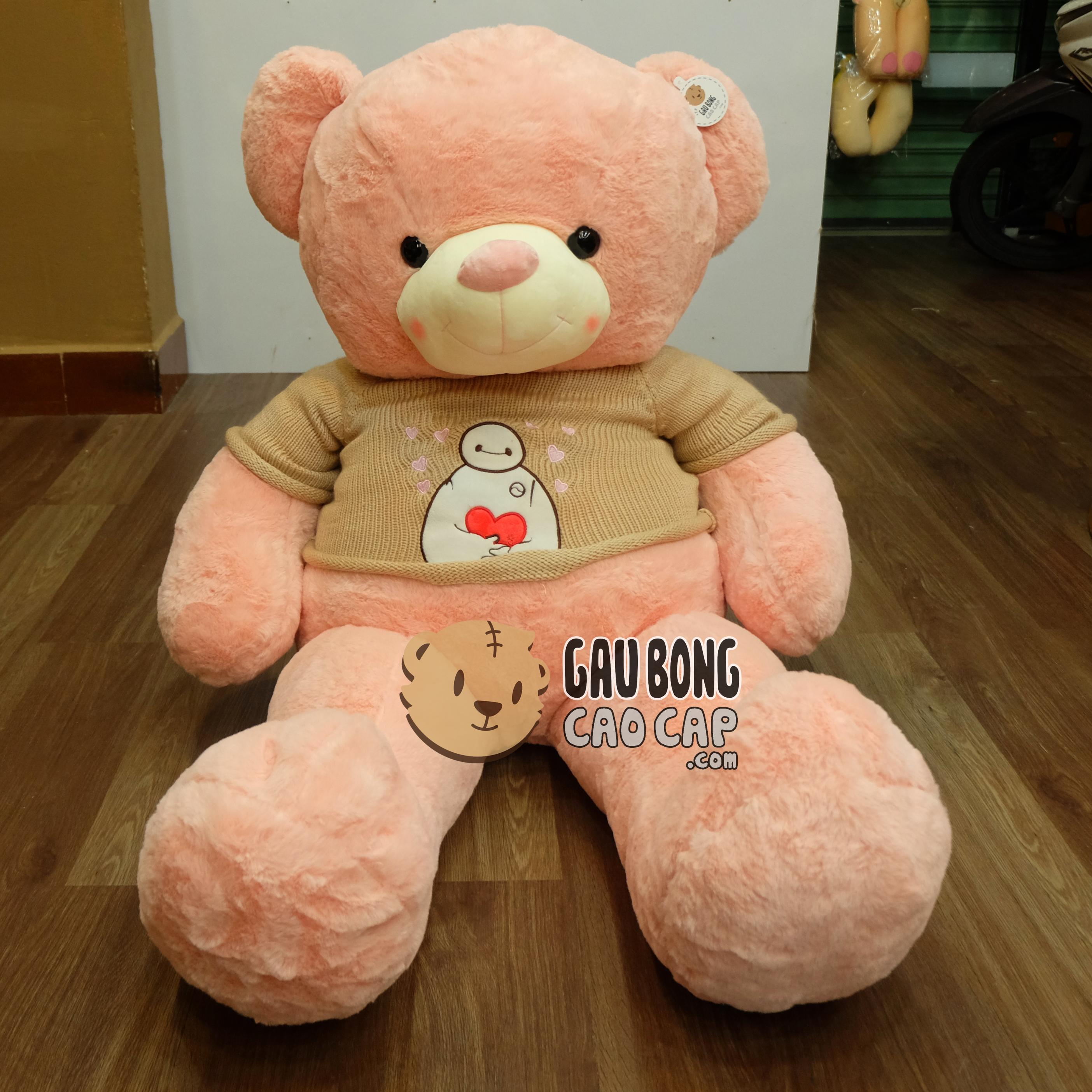 Gấu Teddy áo len Baymax - Hồng