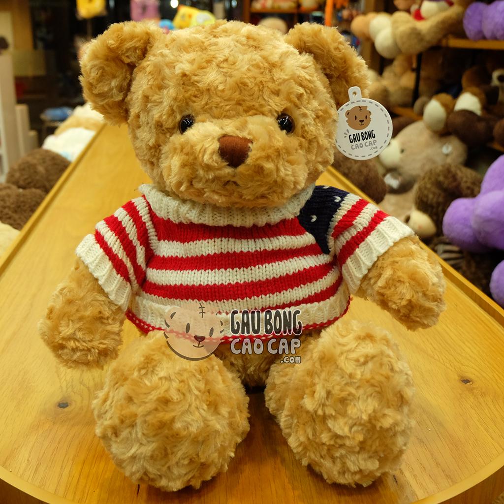 Gấu Teddy áo len cờ mỹ - Vàng 50cm