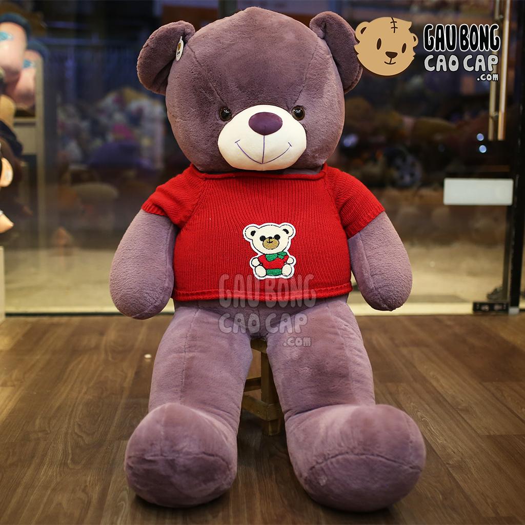Teddy Smooth áo len đỏ hình gấu - Tím