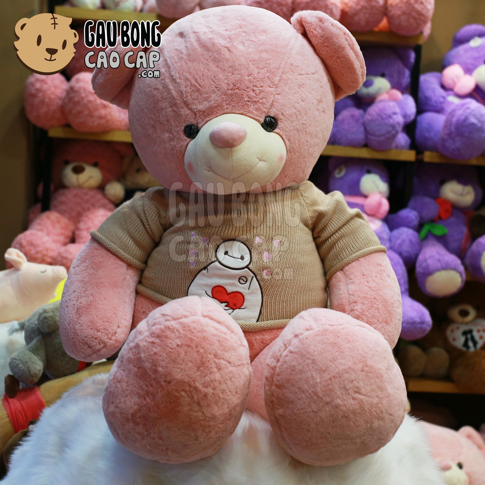 Gấu Teddy áo len Baymax Hồng