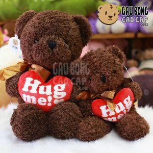 Gấu Teddy ôm tim Hugme - Nâu