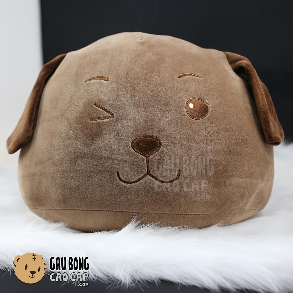 Gối ôm đầu to Chó Bông Nâu