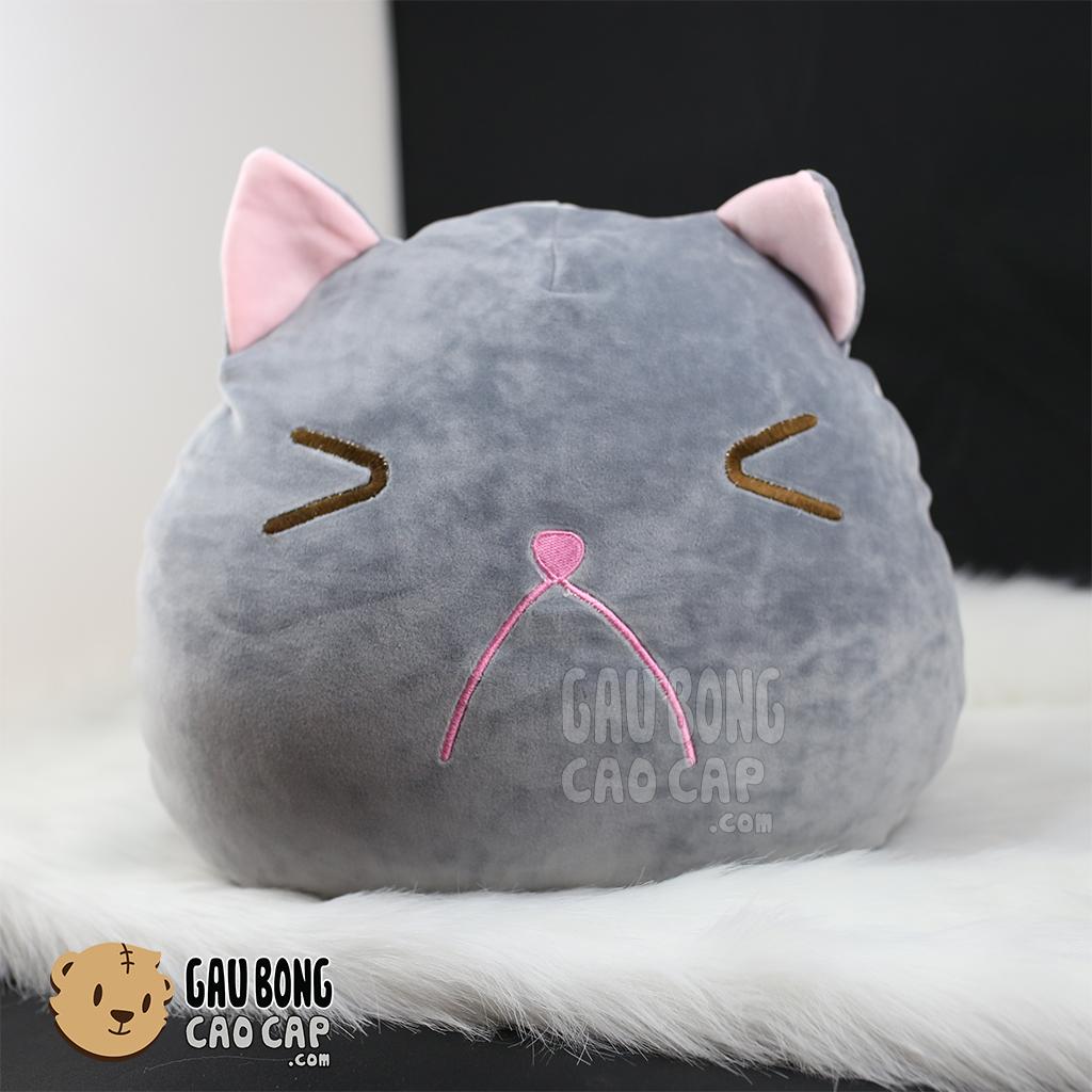 Gối ôm đầu to Mèo Bông xám