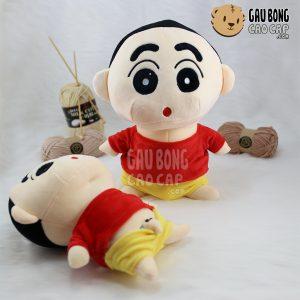 Gấu Bông Shin quần vàng áo đỏ - Lông nhung siêu mịn