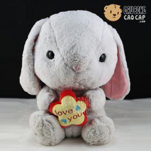 Thỏ bông ôm tim LOVE YOU