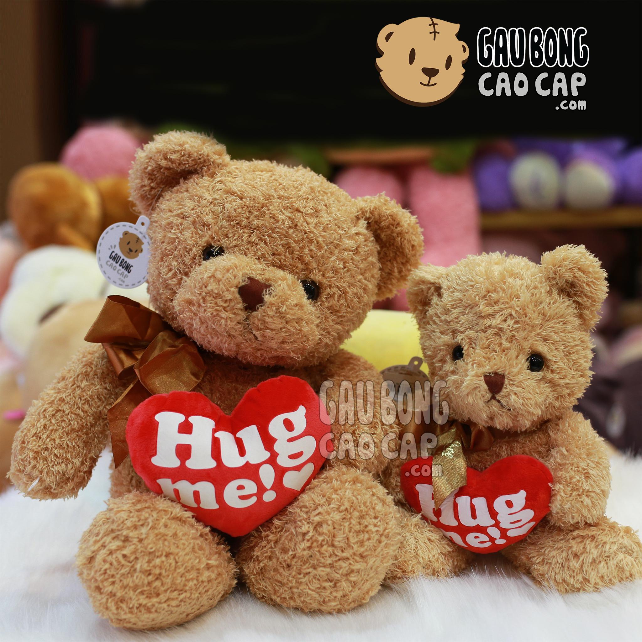 Gấu Teddy lông xù ôm tim HUGME