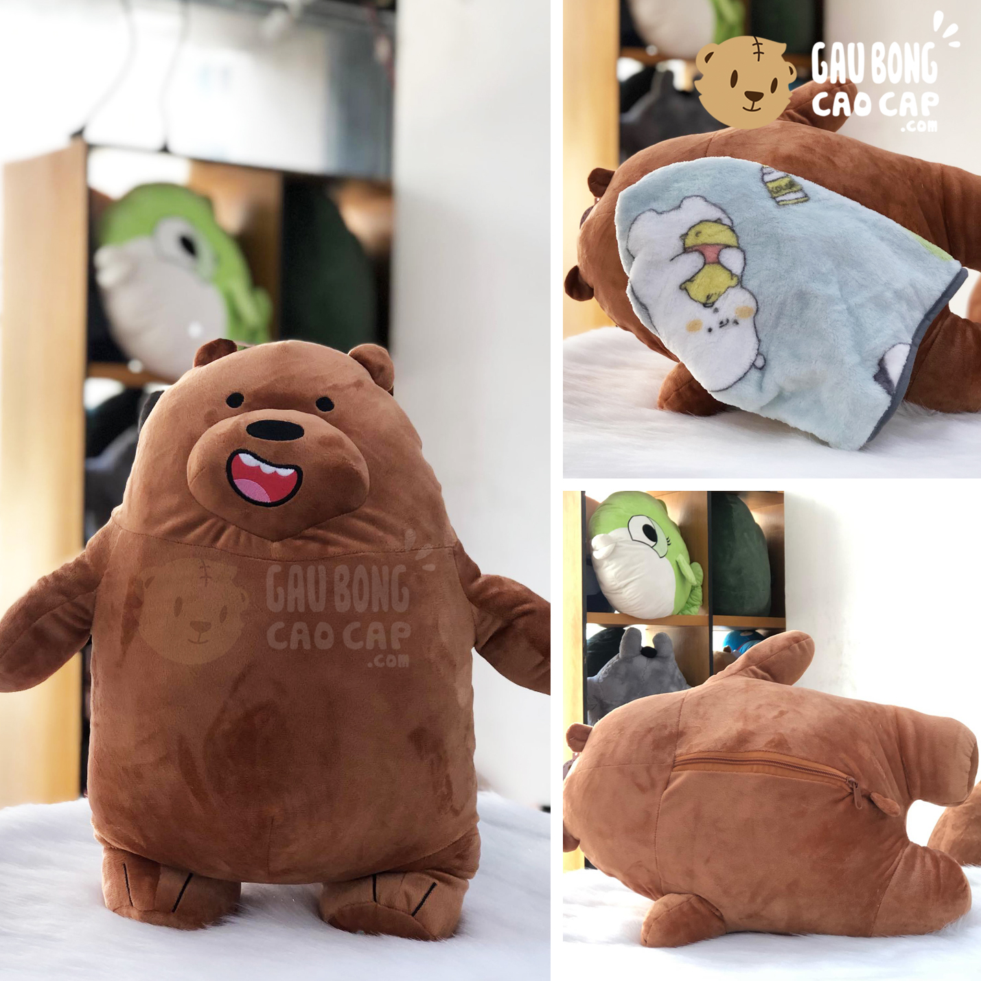 Gối mền 2in1 Gấu We Bare Bear Grizzly