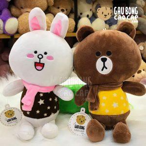 Gấu Brown, Thỏ Cony choàng khăn mặc áo sao - 20cm