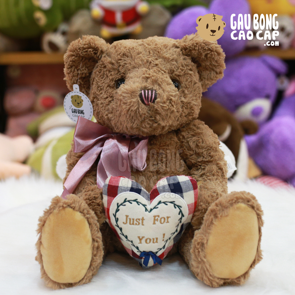 Gấu Teddy lông xoắn ôm tim Just for You