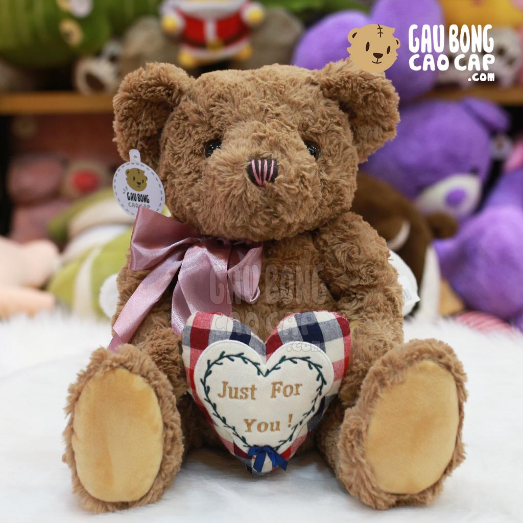 Gấu Teddy lông xoắn ôm tim Just for You