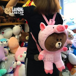 Balo Gấu Brown cosplay Heo Hồng