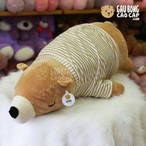 Gấu bông Bắc Cực nằm mặc áo Sọc