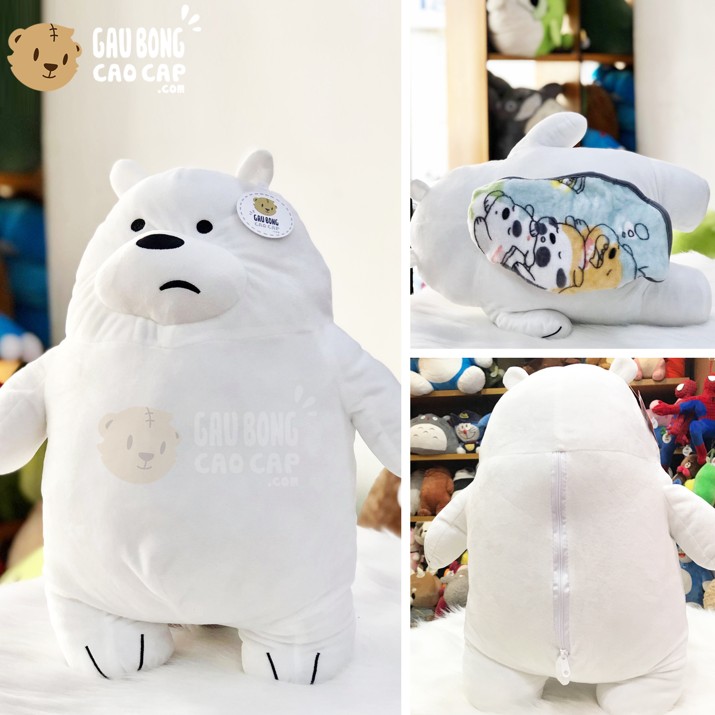 Gối mền 2in1 Gấu We Bare Bear Ice Bear