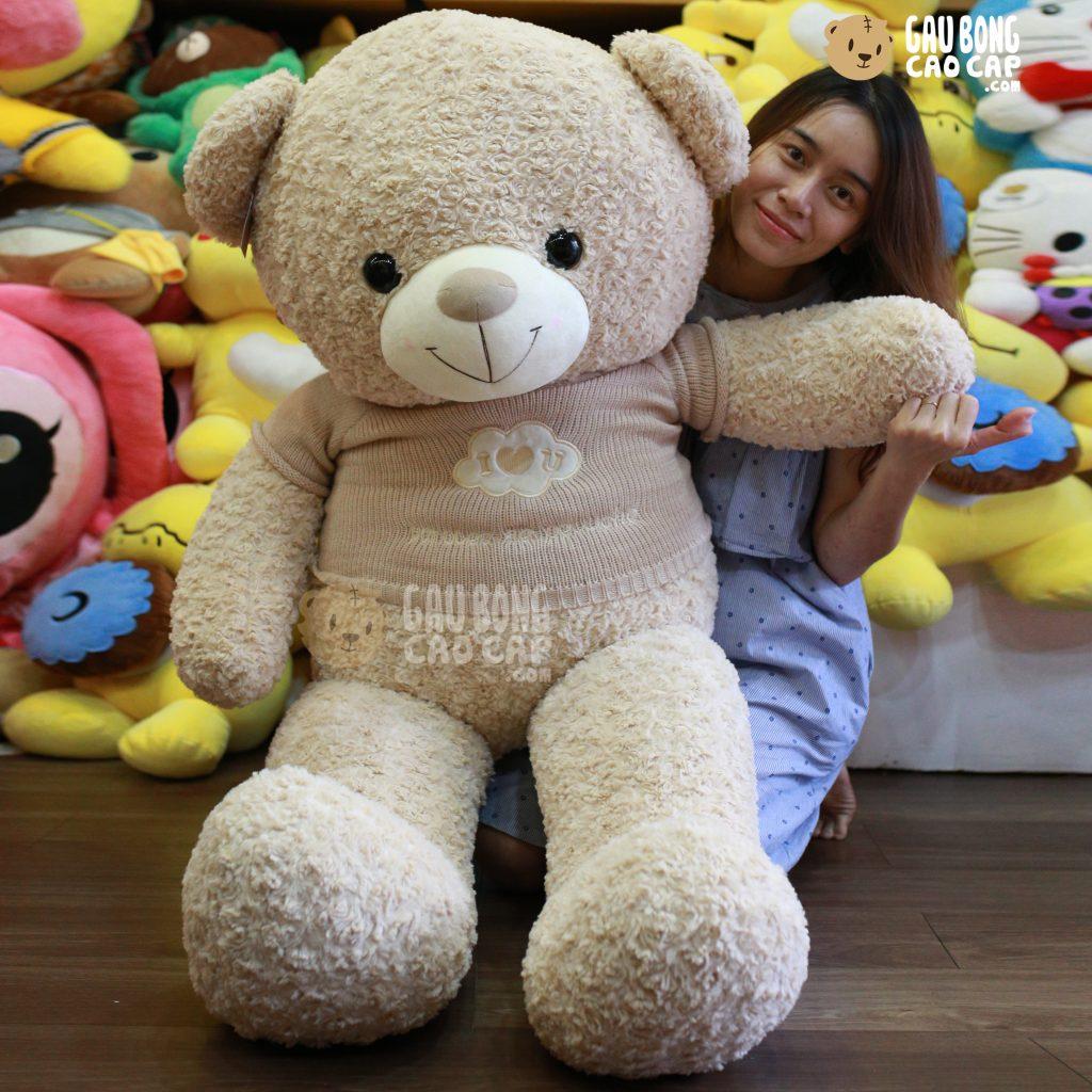 Teddy áo len lông xoắn I LOVE YOU