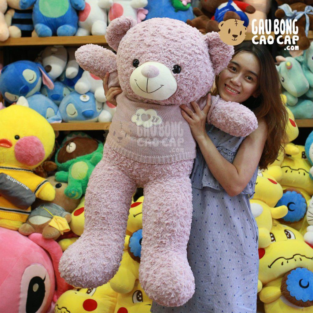 Teddy áo len lông xoắn I LOVE YOU - Màu Tím