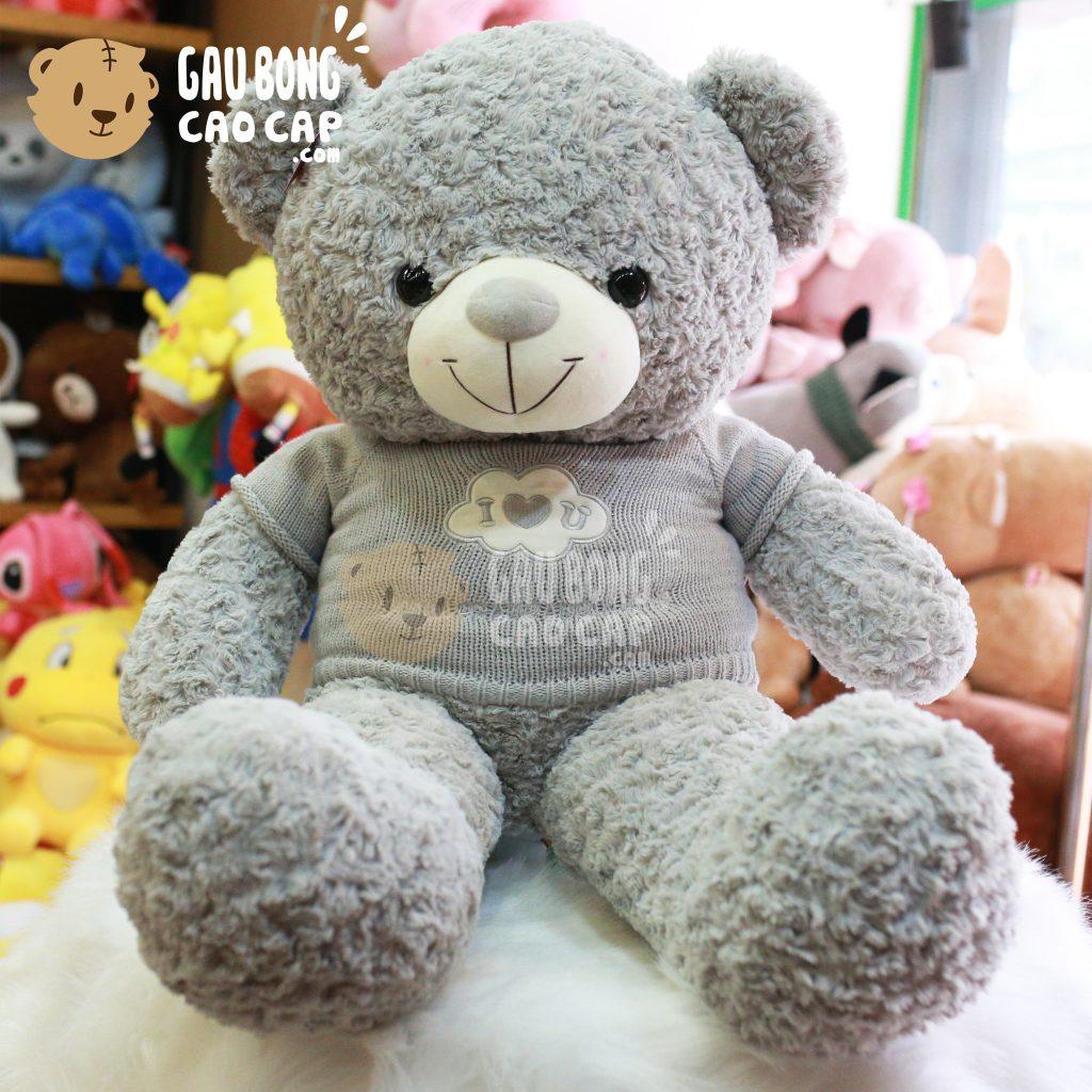 Gấu Teddy mẵc áo len I LOVE YOU – Màu Xám