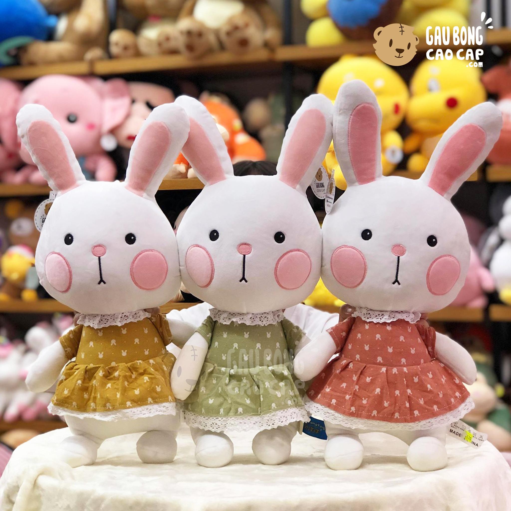 Thỏ Bông má Hồng mặc Đầm Chấm Bi