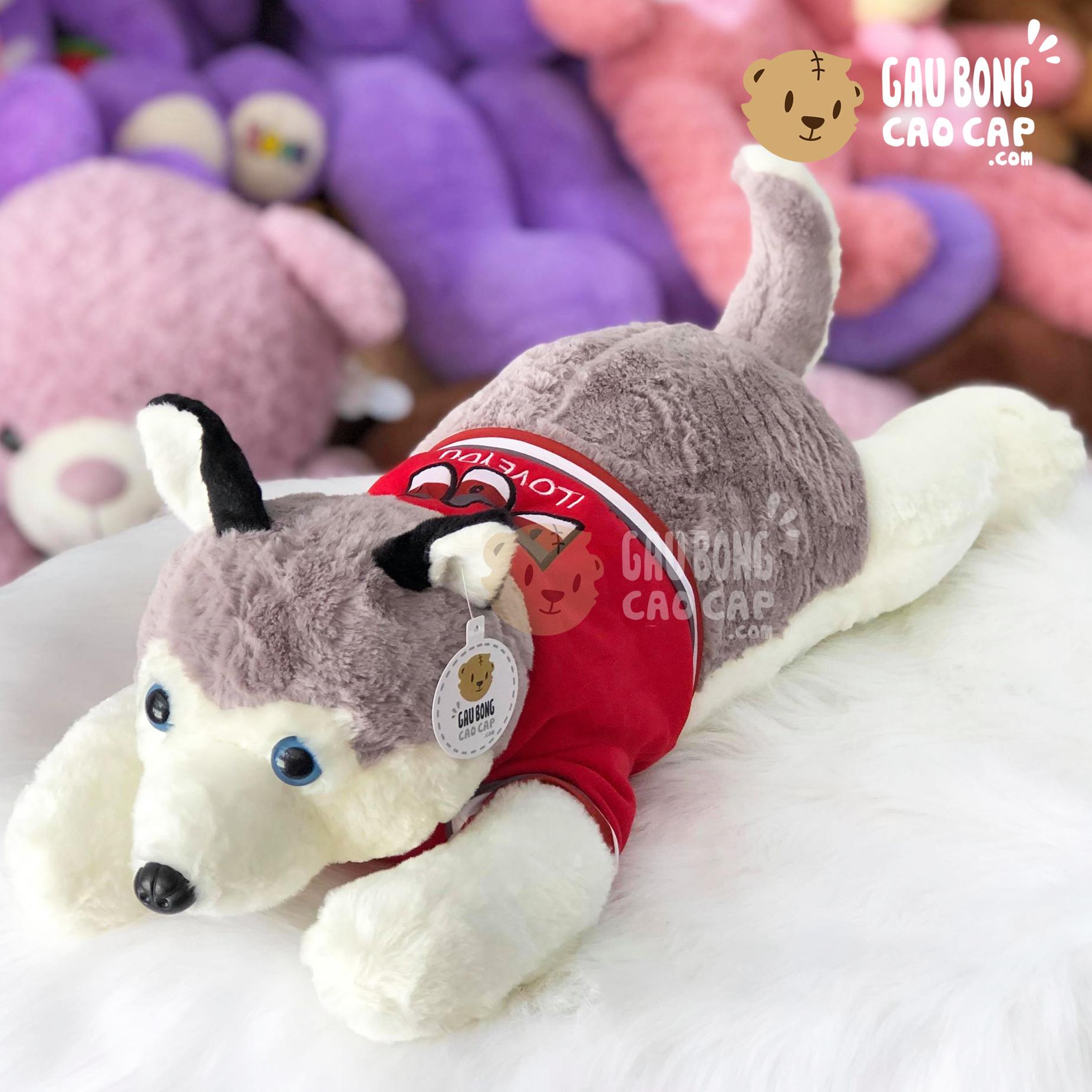 Chó bông Huksy mặc áo thun đỏ I Love You