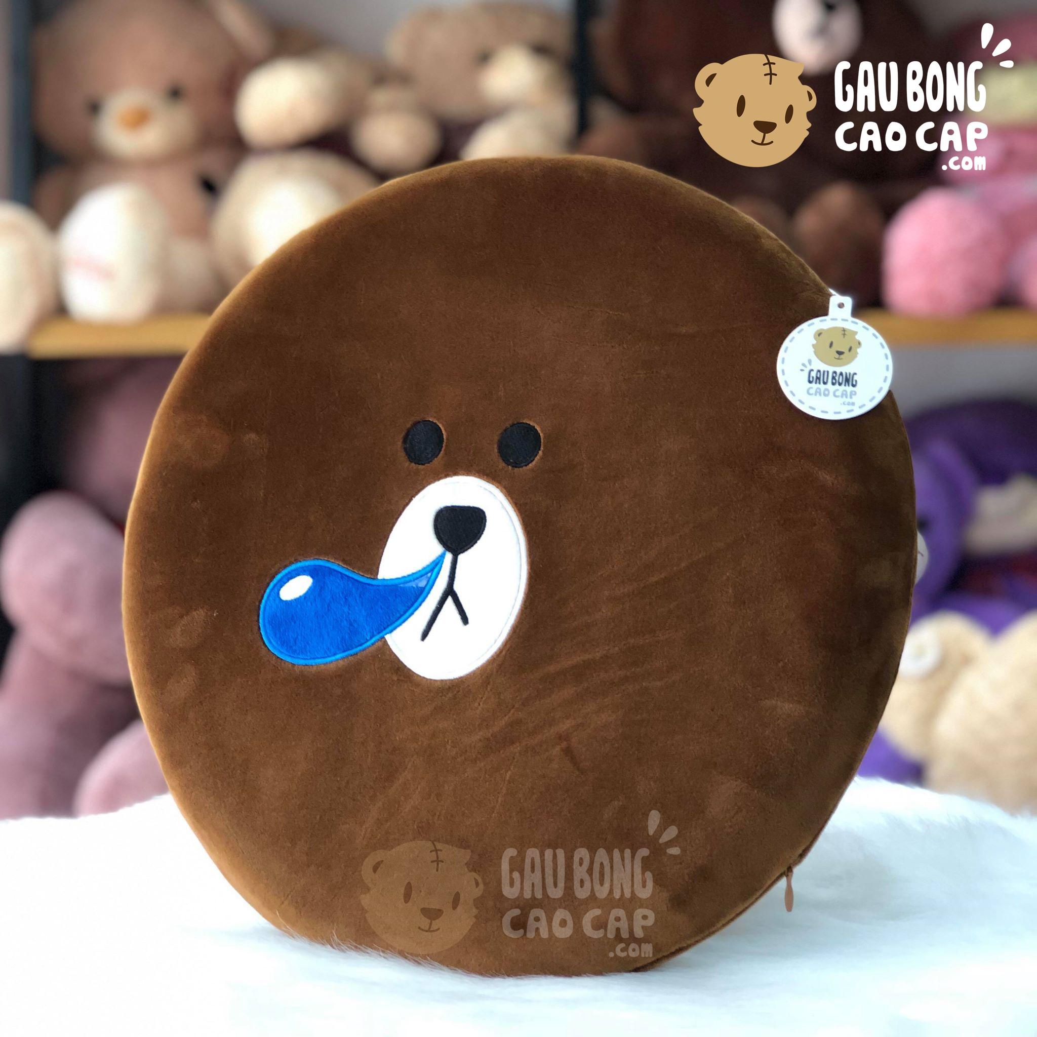 Gối tự lưng/lót mông Gấu Brown hình tròn