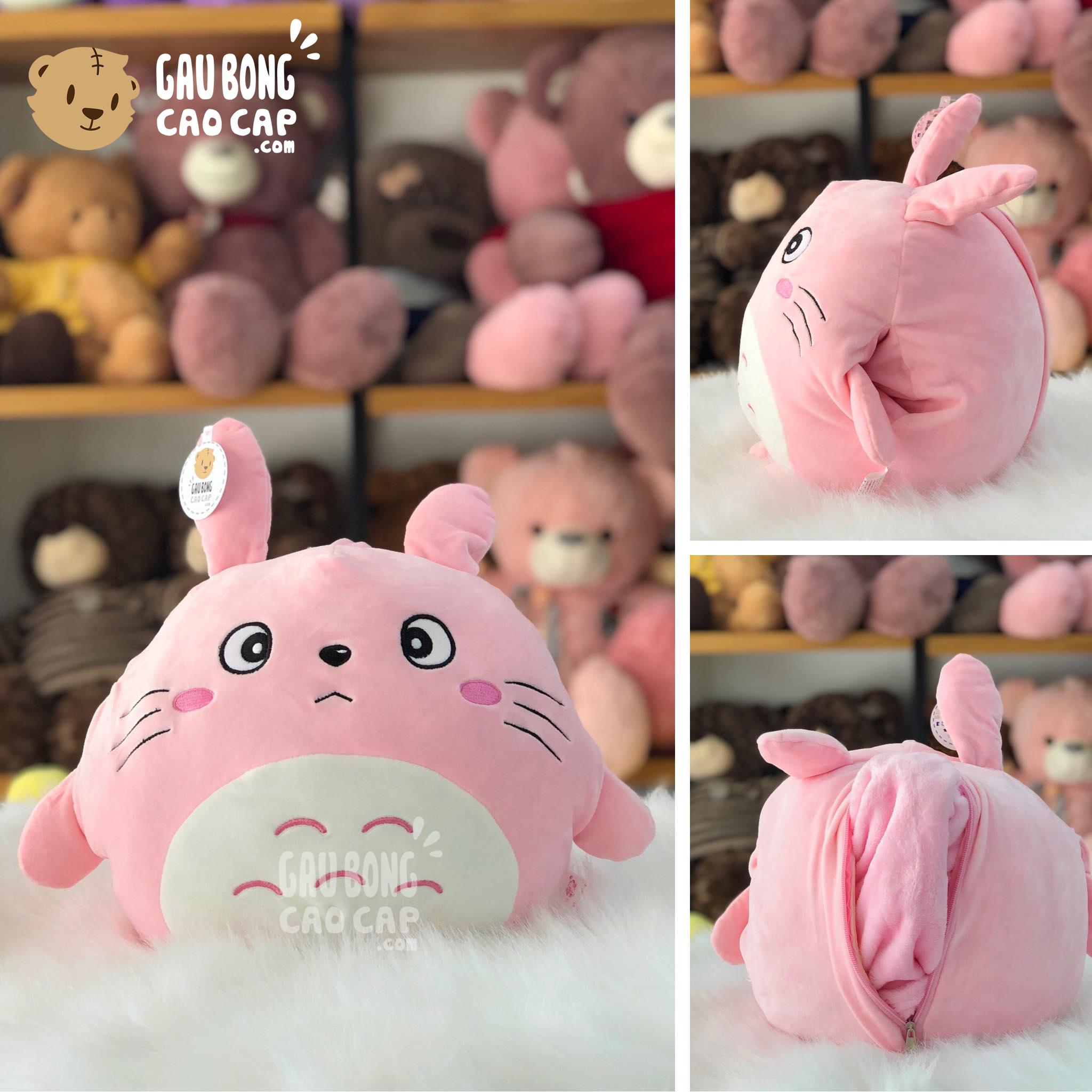 Gối mền đút tay 2in1 Totoro màu hồng lông mịn