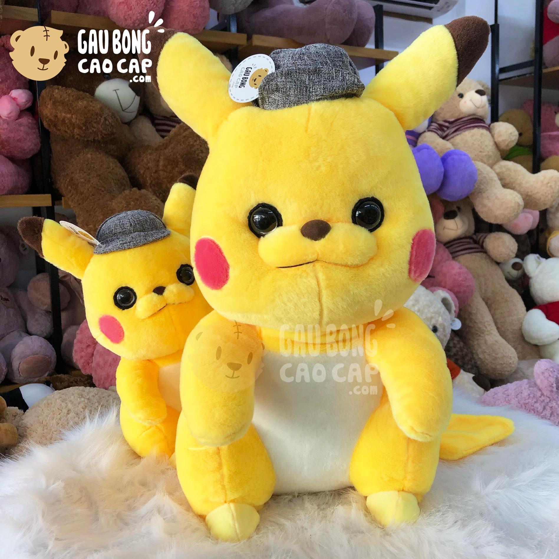 Gấu Bông Pikachu Đội Mũ Thám Tử Lông Mịn