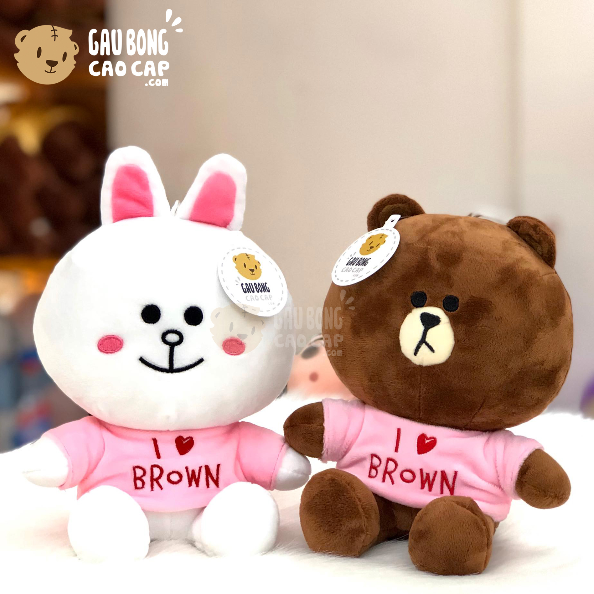 Gấu Brown Thỏ Cony mặc áo thun I Love...