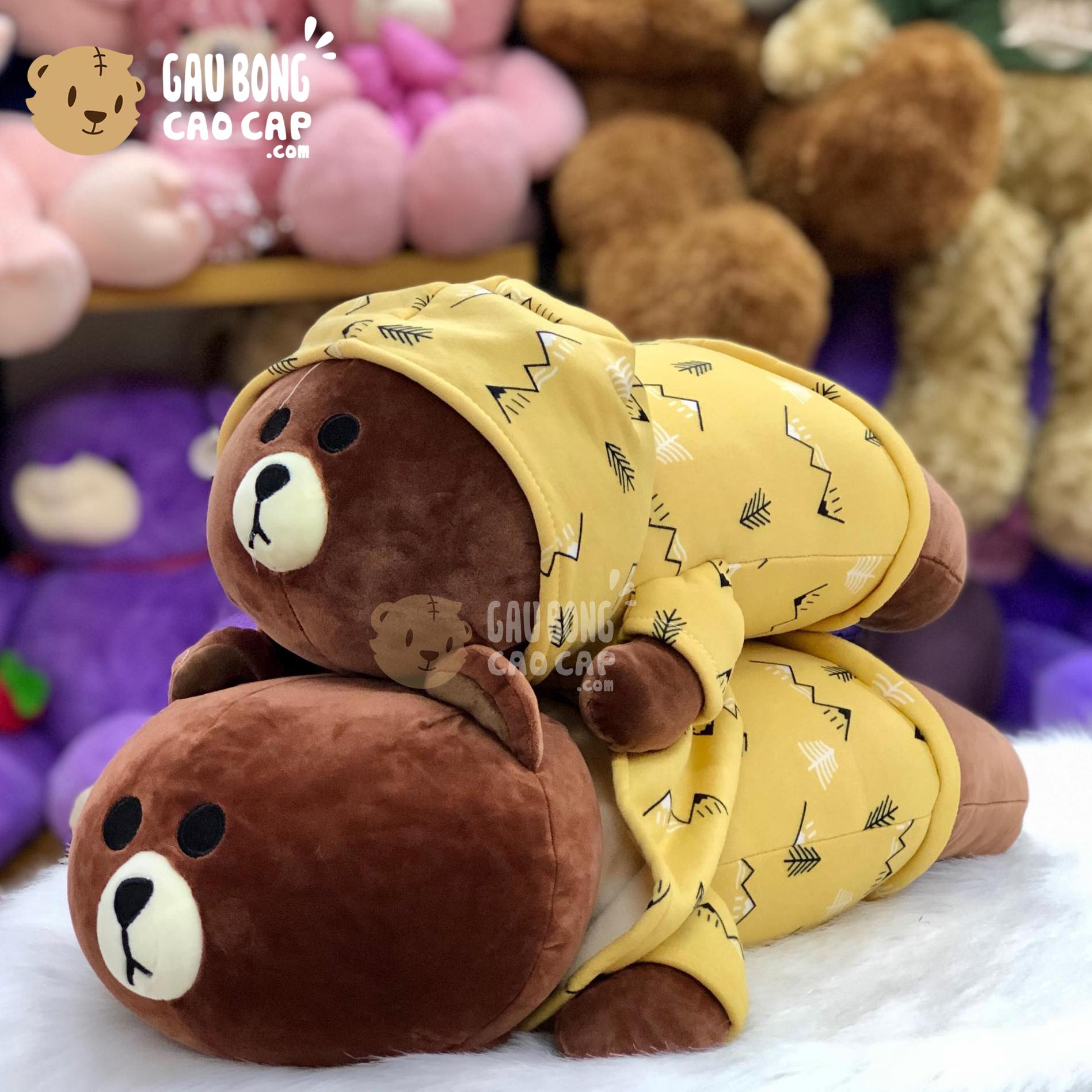 Gấu Brown nằm mặc áo Hoodie